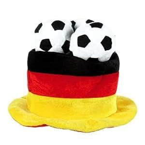 ***Fußballhut Deutschland, Zylinder mit Fußbällen***
