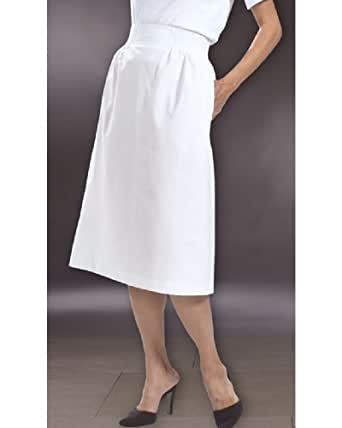 White Elastic Waist Skirt by Peaches Uniforms. Perfect Dress Skirt for Nur- Sku:Peaches2049WHITXS; Color:WHITE; Size:XS XS