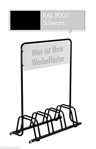 4er-Werbe-Fahrradstnder-mit-Werbeschild-Fahrradhalter-Werbetafel-Rollen-Schwarz