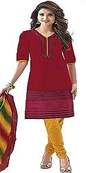 Nikki Fab Red Cotton Unstitched Dress Materials.