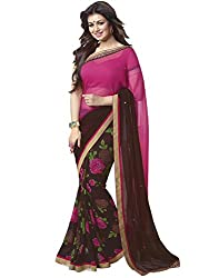 Arth Fashion Women's Georgette printed Saree With Blouse Piece (AYESHA29_Pink_FreeSize)