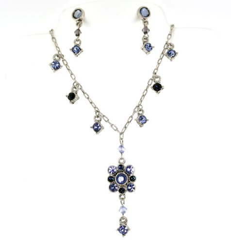Blue Topaz Flower Austrian Crystals Necklace Earrings Set