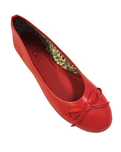 New Womens Ballerina Ballet Flats Shoes Leopard & Black (10, Red 8500) (Red Ballet Flats For Women compare prices)