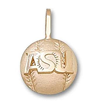 Arizona State Sun Devils ASU Baseball Pendant - 14KT Gold Jewelry by Logo Art