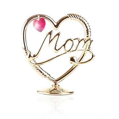 Beautifully CraftedMom in a Heart Table Top Ornament Dipped In 24K Gold Plating Made with Genuine Matashi Crystals