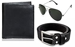 Rico Sordi leather wallet with sunglass & Belt(design-13) (Black) - RSM_48_47_WSGB