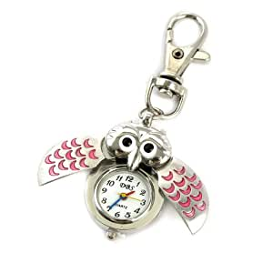 Youyoupifa Cute Owl Style Stainless Steel Case Quartz Keychain Watch (Pink)
