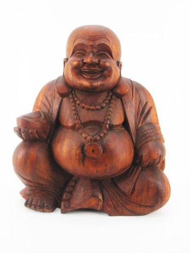 40cm-Happy-Buddha-Sitzend-Edel-Holz-Geschnitzt-Braun-Feng-Shui-Massiv-Fair-Trade