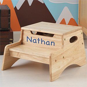 Personalized Kids Wood Step Stool - Step & Store by PersonalizationMall.com