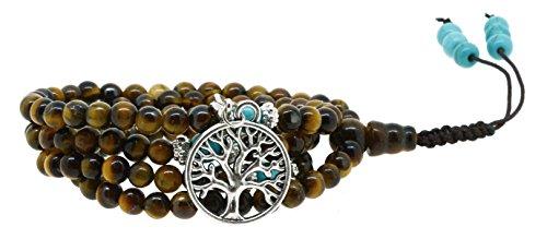 Yoga Meditation Simulated Tiger Eye 108 Prayer Bead Mala Wrap Bracelet Necklace(Silver Tree of Life)
