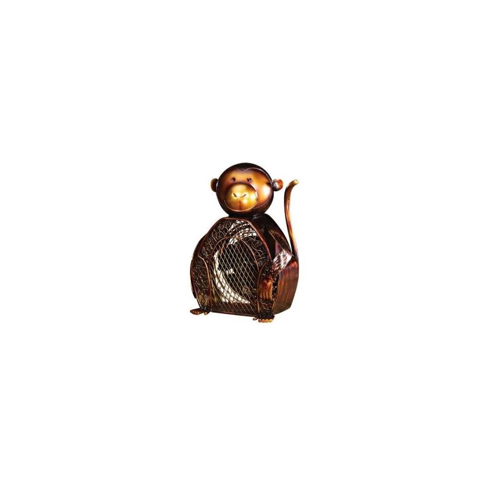 Monkey Figurine Mottled Brass Desk Fan