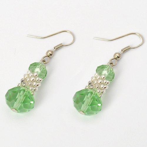 Fashion Silvery Bunch of Beads Green Crystal Drop Loop Dangle Earrings Jewelry