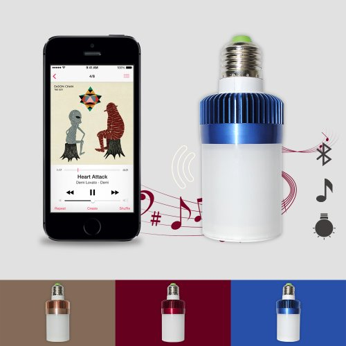 Iclover Led Lamp Speakers E27 Adjustable Brightness Wireless Bluetooth Audio Speaker For Iphone 5S, 4S,Ipad, Samsung Galaxy, Tablet Pcs(Coffice White Cold Coloring)
