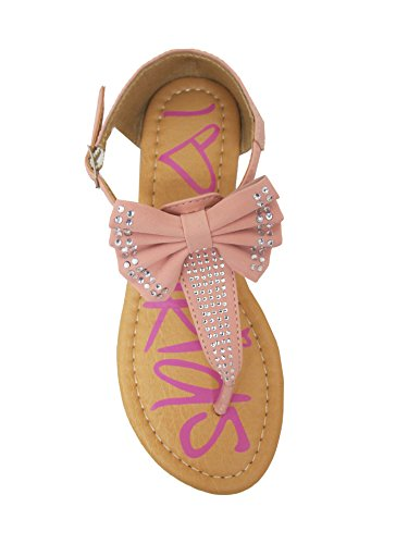49061fbf5a3 Amanda-15 Little Girls Flat Thong Sandals with Bow and Rhinestones Pink 10