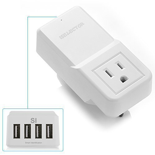 Best Review Of USB Travel Wall Charger - 4 USB ports plus AC Outlet Portable Travel Power Adapter fo...