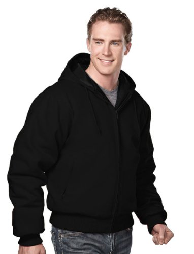 Tri-Mountain Cotton Canvas Hooded Work Jacket With Quilted Lining. 4600Tm - Black / Black_5Xlt front-785238