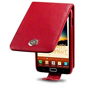 SAMSUNG GALAXY NOTE PREMIUM PU LEATHER FLIP CASE / COVER / POUCH / HOLSTER - RED PART OF THE QUBITS ACCESSORIES RANGE