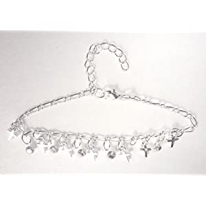 Religious Gift of Rhinestone Bling Cross Anklet in Silver