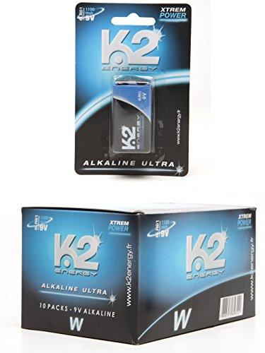 Pack de 10 piles 9V - 6LR61 - pile carrée - K2 energy ®