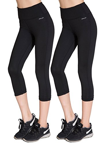 Aenlley Women's Activewear Yoga Pants High Rise Slim Fit Tights Cropped Capris Color Black of 2 Size XL