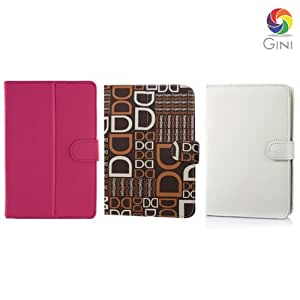 Gini 7 inches Flip cover forMicromax Funbook P280 Tablet Combo of Pink, DD text brown & White