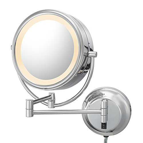 Kimball & Young 92545 Double-Sided Neo Modern Led Lighted Mirror, Plug-In, 1X And 5X Magnification, Chrome