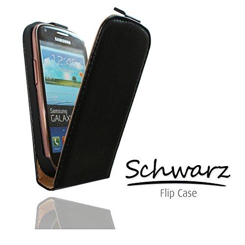 Flip Case Tasche Hülle Etui Handytasche SLIM in schwarz für Samsung Galaxy Trend GT-S7560 / S Duos GT-S7562 / Plus GT-S7580 / S Duos 2 GT-S7582 inkl. Touchpen von World-of-Technik