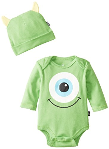 Disney Baby Baby-Boys Newborn Monster Inc. Bodysuit With Cap And Ears, Green, 6-9 Months front-781995