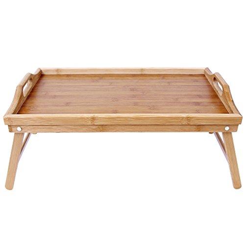 Songmics Plateau petit déjeuner Table de lit en bambou pour repas 50 x 30 cm LLD530
