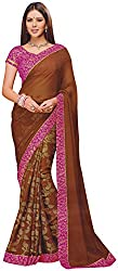 Ambica Lavnya Women's Chiffon And Marble Saree (Ambica Calida 3233_1, Brown Colour)