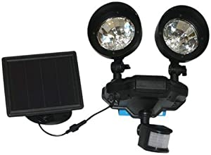 Proteam Solar-powered Twin-head Pir Sensor Security Led Light, Sl1088