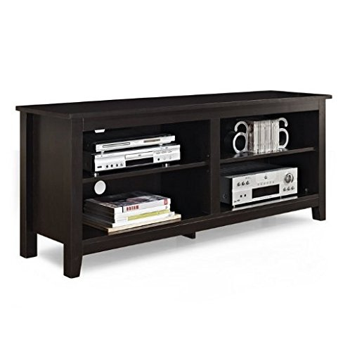 WE Furniture Wood TV Stand, 58-Inch, Espresso