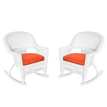 Jeco Inc. Jeco W00206R-B_2-FS018 Rocker Wicker Chair with Red Cushion, Set of 2, White