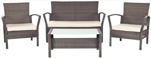 Safavieh Patio Collection Avaron Outdoor Living 4-Peice Wicker Patio Furniture Set, Brown/Beige
