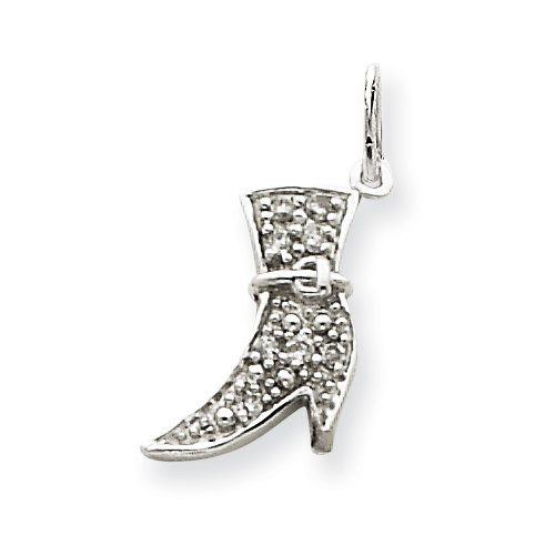 14k White Gold Diamond Boot Accessory Charm