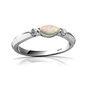 Genuine Opal 14ct White Gold Ring - Size Q