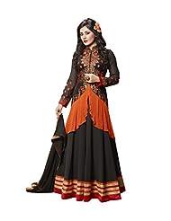 Desi Look Women's Black Georgette Anarkali Dress Material With Dupatta