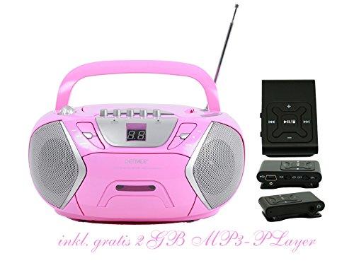 Kinder Mädchen Stereoanlage CD-Player Radio Kassettendeck Boombox DENVER TCP-38 Pink inkl. 2GB MP3-Player Schwarz