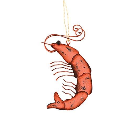Metal Shrimp Ornament, 4.75-in.