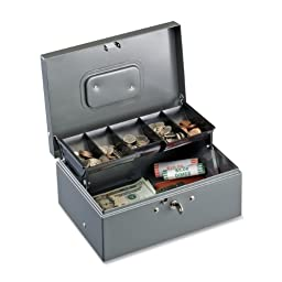 STEELMASTER Cash Box with Cantilever Tray, Gray (221F930GRA)
