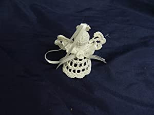 "Vintage White Crocheted Starched Angel Ornament 3 1/2"" Tall"
