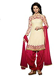 Sanchey Women's Georgette Unstitched Dress Material (754616_Beige_Free Size)