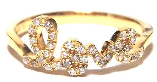 sugarbeanjewelry ( シュガービーンジュエリー ) アメリカ の イエローゴールド キラメキ リング LOVE RING 11号 ( USA 6号 ) ラブリング イエロー ゴールド スターリングシルバー 指輪 メッキ 海外 ブランド
