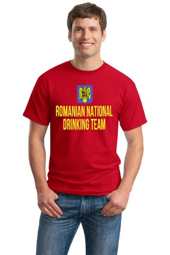 ROMANIAN NATIONAL DRINKING TEAM Unisex T-shirt / Funny Romania Beer Tee-Red-X-Large (Romanian Beer compare prices)