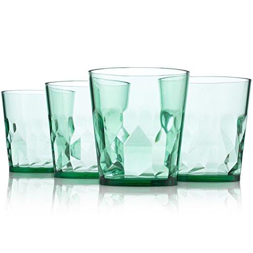 8 oz Premium Juice Glasses - Set of 4 - Unbreakable Tritan Plastic - BPA Free - 100% Made in Japan (Green)