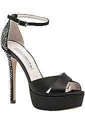 Guido Sgariglia Black Satin Studded Platform Ankle Strap Sandal
