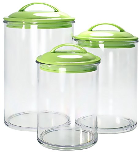 Reston Lloyd 3-Piece Calypso Basics Acrylic Canister Set, Lime