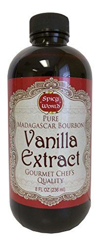 Spicy World Madagascar Bourbon Pure Vanilla Extract 8 Ounce - One Month Cold Extraction Process! No Heat or Pressure Used! (Madagascar Vanilla Extract 8 Oz compare prices)