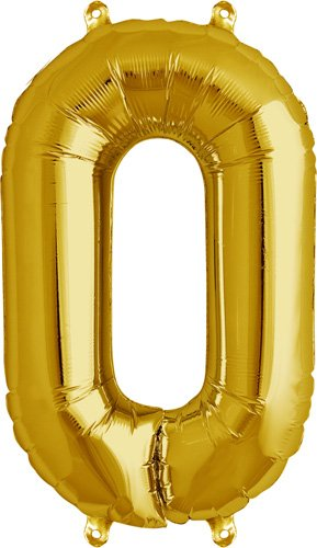 16 inch Number 0 - Gold Air-Filled Foil Balloon