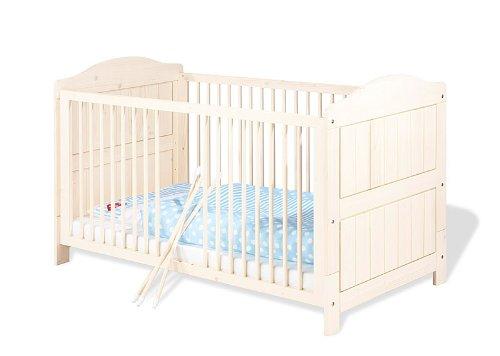 Pinolino-Kinderbett-Finja-wunderschnes-stabiles-Babybett-140-x-70-cm-mit-3-Schlupfsprossen-aus-vollmassiver-Fichte-cremewei-lasiert-Umbauseiten-enthalten-Art-Nr-11-16-33